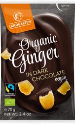 Imbir kandyzowany w gorzkiej czekoladzie fair trade bezglutenowy BIO 70 g
