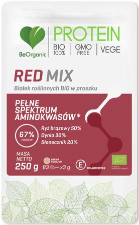 BIAŁKO ROŚLINNE RED MIX W PROSZKU BIO 250 g - BE O
