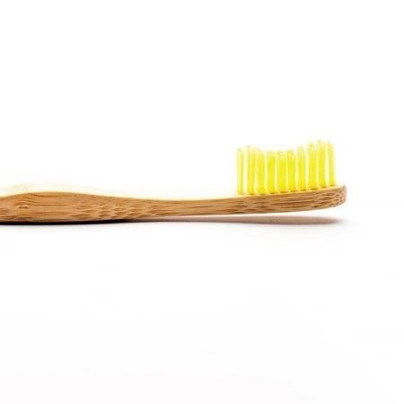 Bambusowa szczoteczka do zębów dla dorosłych, Medium, żółta
